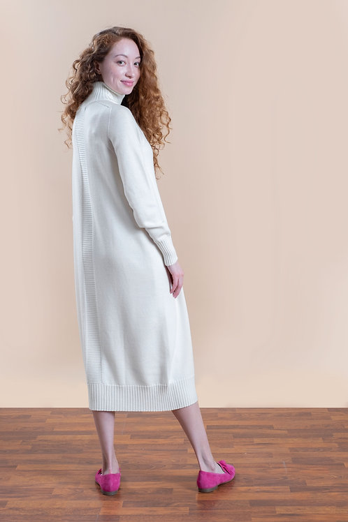Oversized high neck knitted dress in white