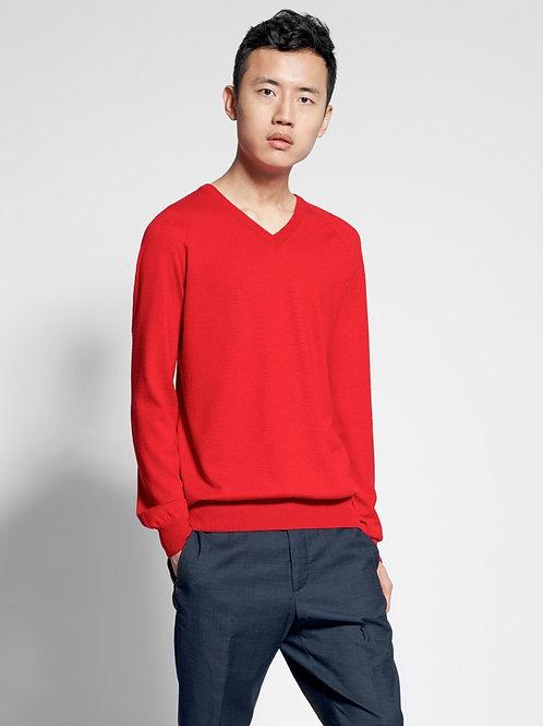 Herren Pullover mit V-Ausschnitt in rot