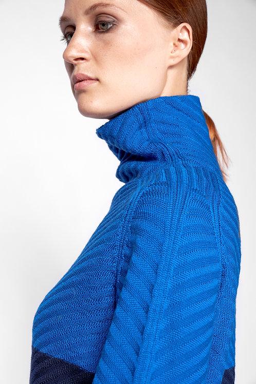 pullover mit stehkragen für damen aus merinowolle in blau