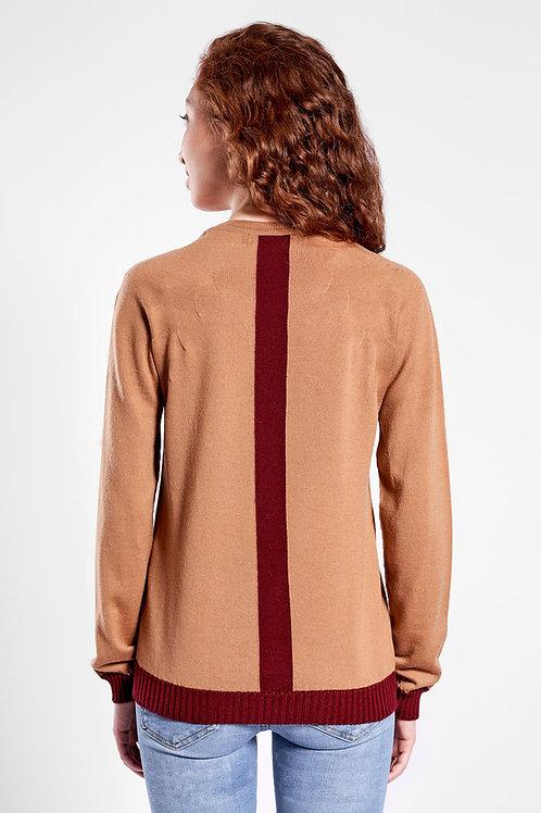 Pullover mit Kontraststreifen am Rücken