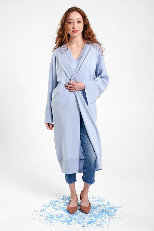 Langer Cardigan in hellblau in Kimono Style