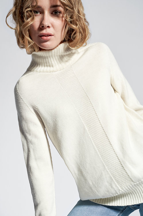 Oversized high neck sweater in white