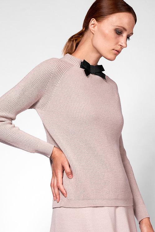 Pullover mit Schleife in beige