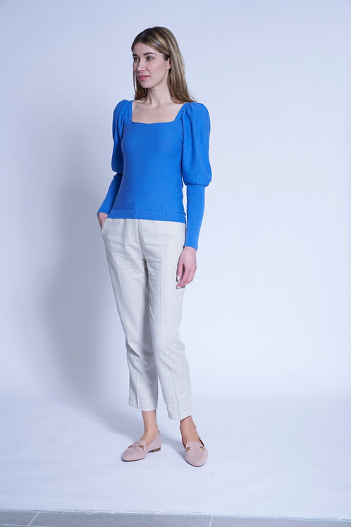 Sweater with puff sleeves in aqua