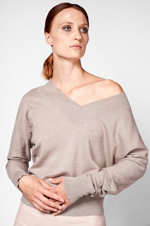 V-neck sweater in metallic beige