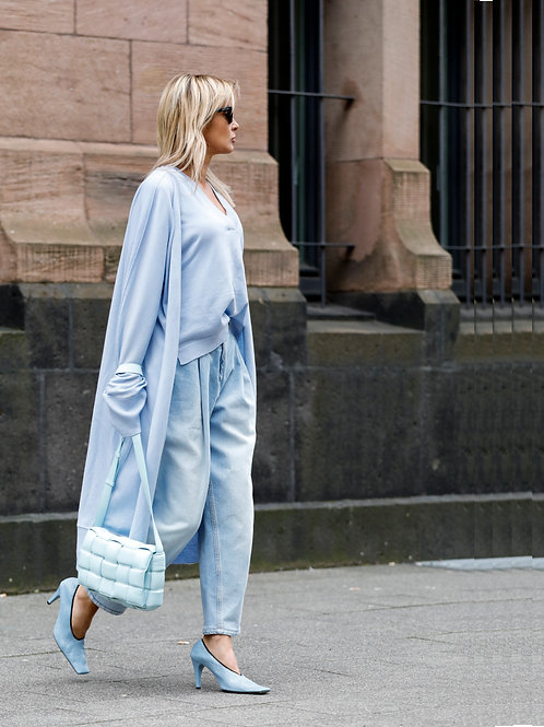 Blue knitted Coat