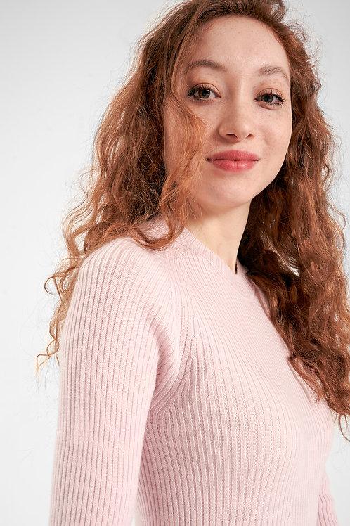 strickkleid in rosa aus merinowolle für damen