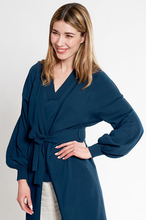 Cardigan with balloon sleeves in dark blue