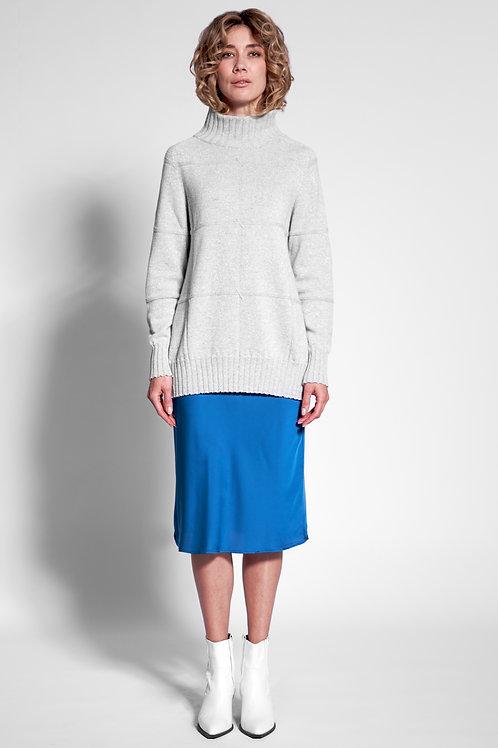 Oversized Pullover mit Stehkragen in metallic grau