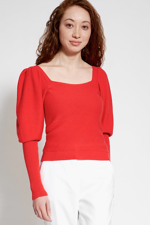 Sweater with puff sleeves in corall