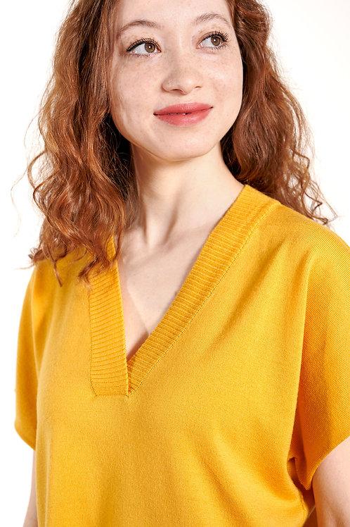 Feinstrick Pullover mit V-Ausschnitt in gelb
