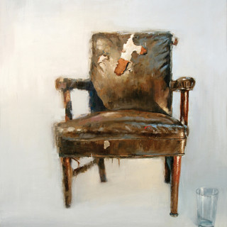Studio chair with a water glass