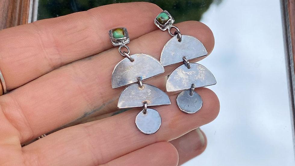 Turquoise Silver Moen Earrings