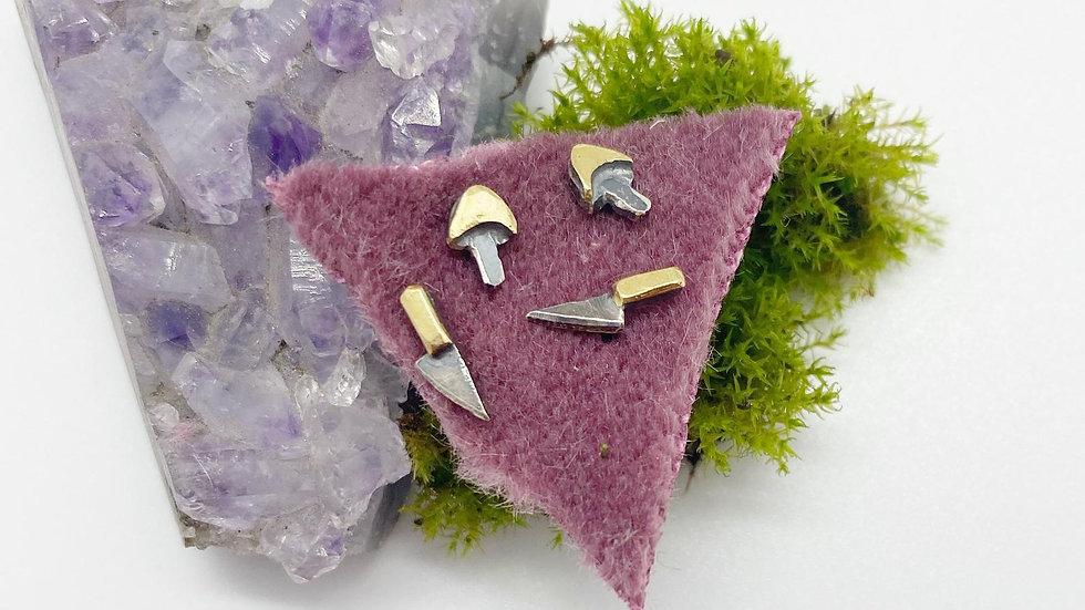 Mini Magic Mushroom// Tiny Knife Stud Set