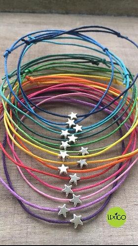 Cotton cord wish bracelet star charm