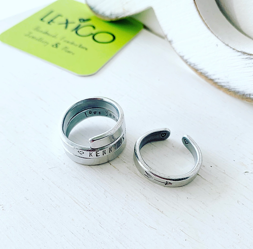 Spiral ring, hand stamped ring, personalised gift