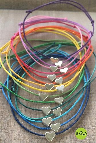 Cotton cord wish bracelet heart charm
