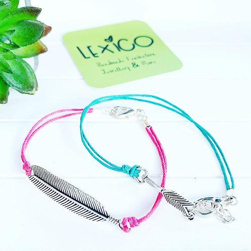 Boho feather & arrow cotton cord bracelets