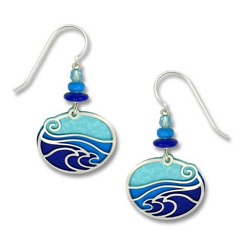 """IR """"Waves"""" - Aqua/Blue/Purple Oval Backer"""