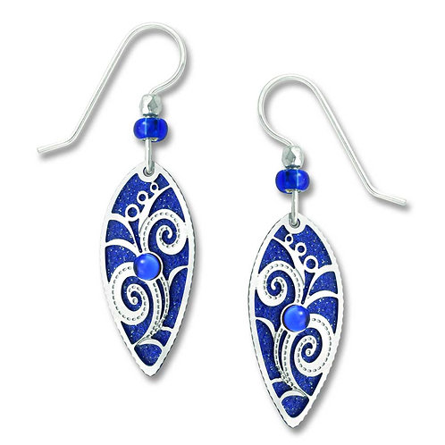 Royal blue pointed oval w/IR flowery overlay & cab