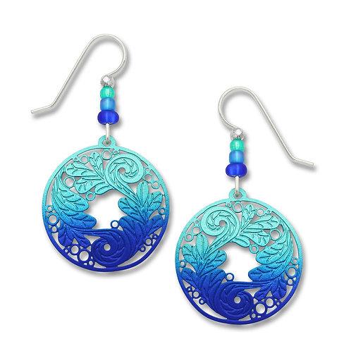 Blue Aqua Disc w/Decorative Leaves