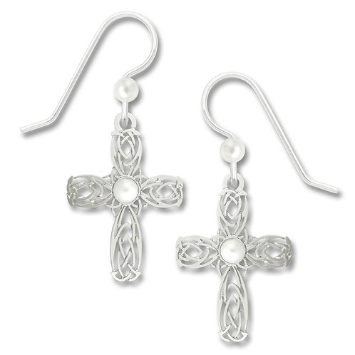 Celtic-Style Cross with Pearl Cab
