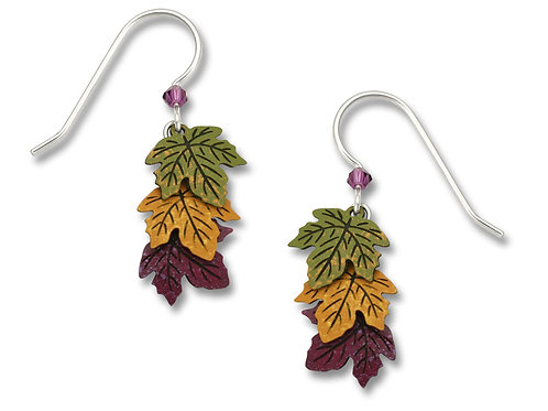 Green, Gold & Rust Leaf earrings