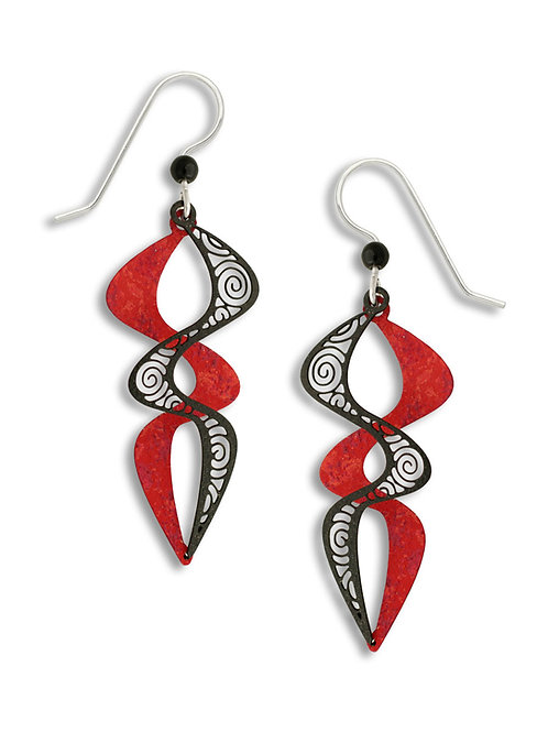 Ruby & Black Filigree Paired Double Helix