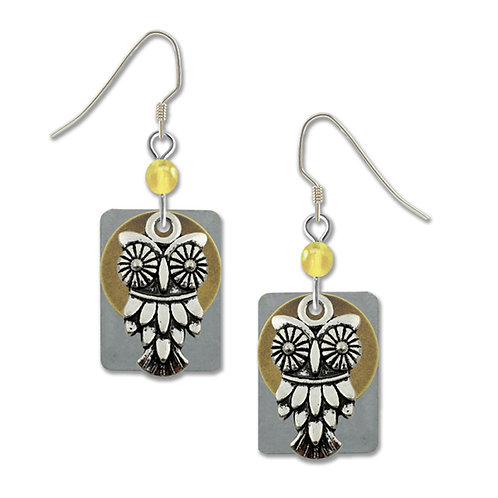 Large silver owl charm with rectangle back