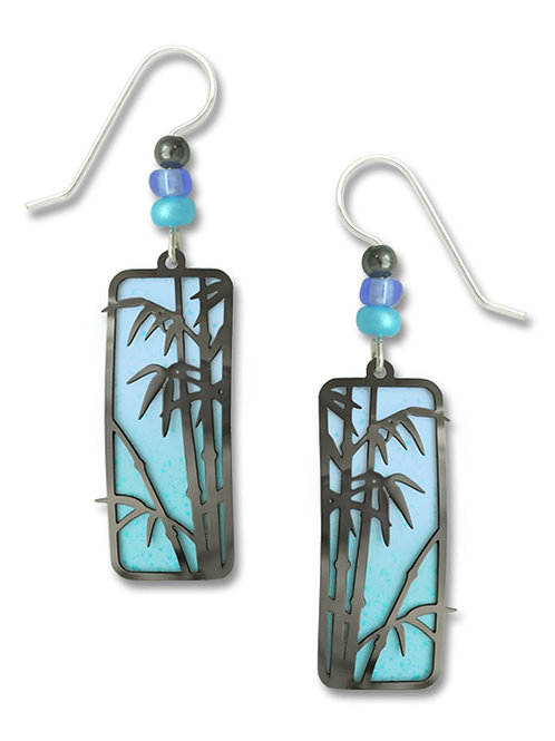 Hematite look 'bamboo' on it, blue/tropical blue column