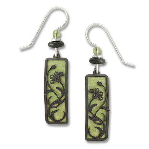Celery Green Rectangle w/Hematite Tone Floral Overlay