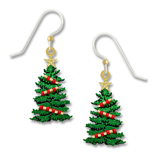 Sparkly Green Christmas Tree w/ Red Beads & GP Star