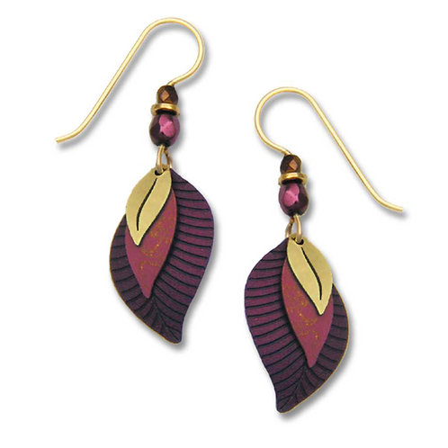 3-part wine & plum leaf shapes w/brass leaf
