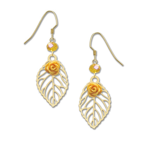 Filigree leaf with yellow rose