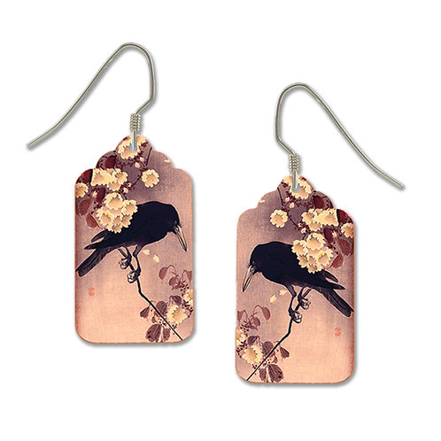 Black crow with flowers on pink tag