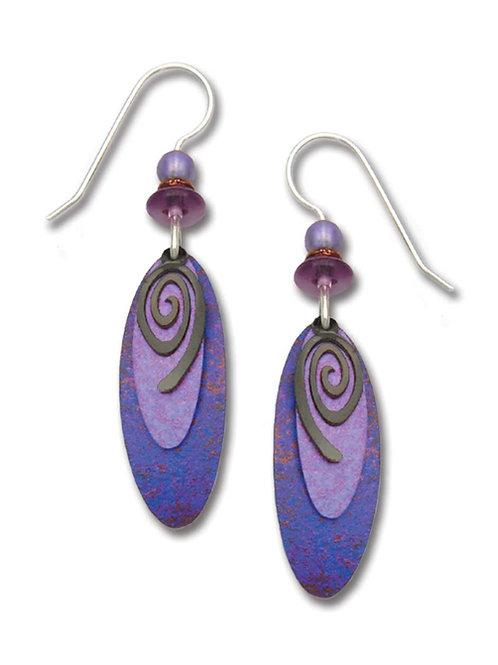 3-layer purple & plum ovals w/hemitite tone spiral