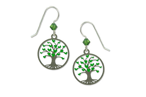 Tree of Life with Green Hearts in disc
