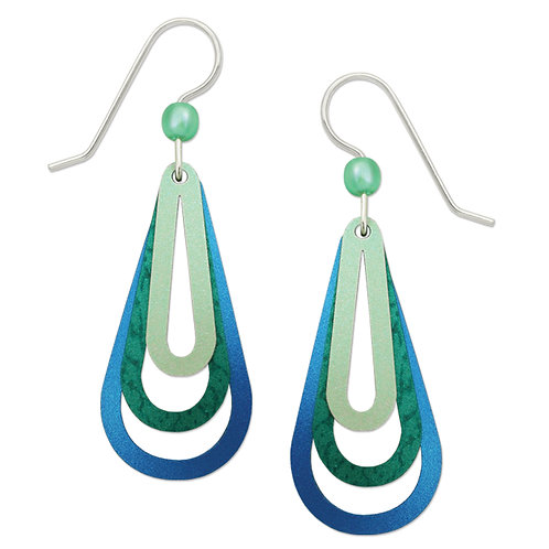 Three Part Open Teardrop In Seafoam, Teal & Azure Blue