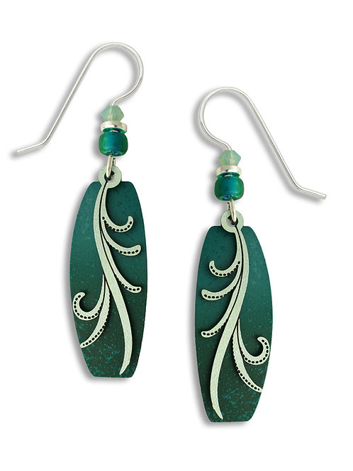 Teal & Turquoise Puffed Column w/Silver Sage Tendrils