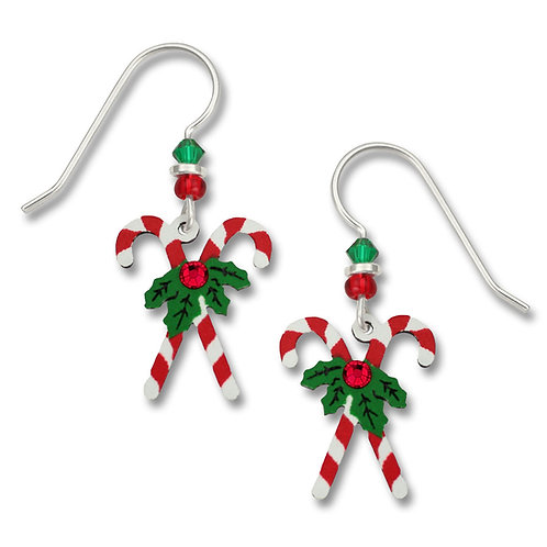 Crossed candy canes with holly and rhinestone
