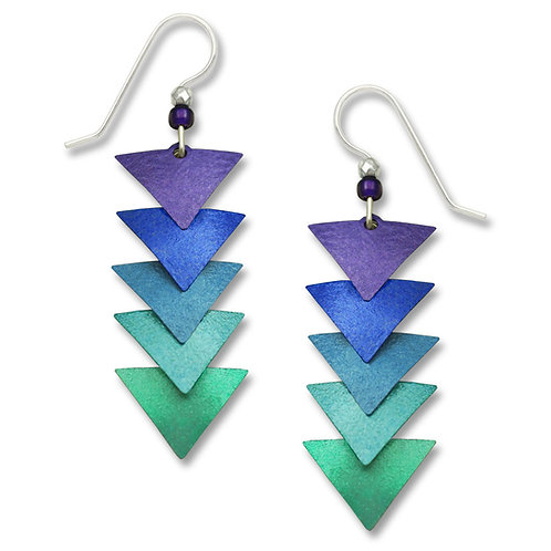 Five-part descending amethyst to teal triangles
