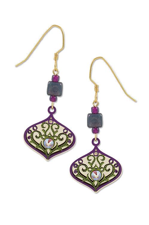 Purple & Green Deco Teardrop W/Topaz Rhinestone