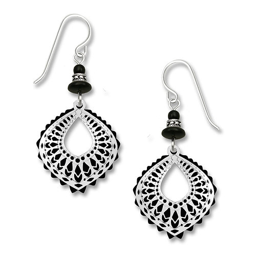 Black Moroccan-Style Drop w/ IR Filigree Overlay & Beads