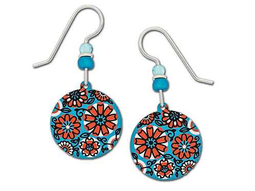 Blue and Coral Retro Flower Disc