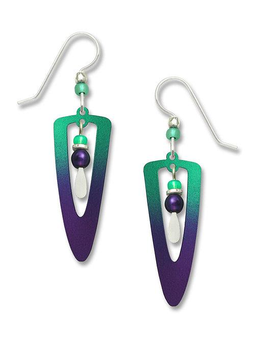 Iridescent teal to violet - open trowel w/bead drop