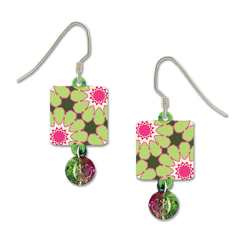 green and pink floral square