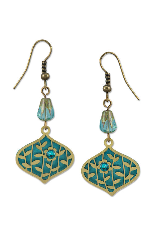 Deco Teardrop in Brass with Leaves and Flower over Teal Backer