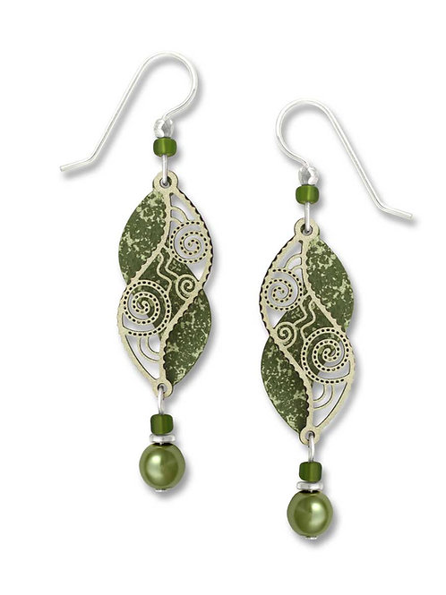 Olive Green Dbl Helix w/Dusty Green Filigre & Bead Drop