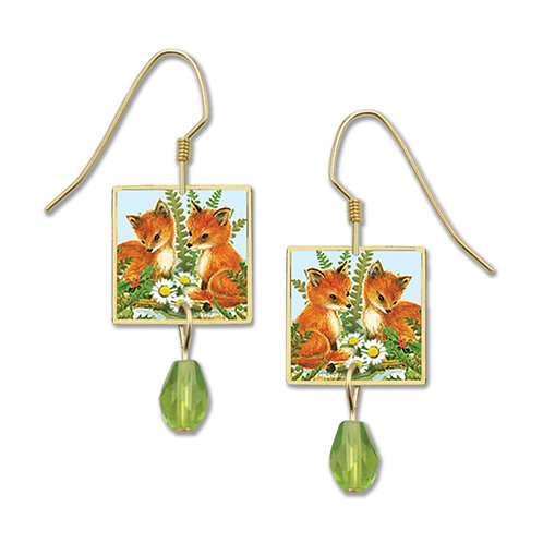 Two Foxes and Sunflowers in Square