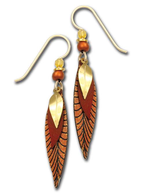 3 Part slender leaves in copper colors & GP